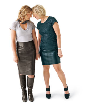 Two women in leather skirts
