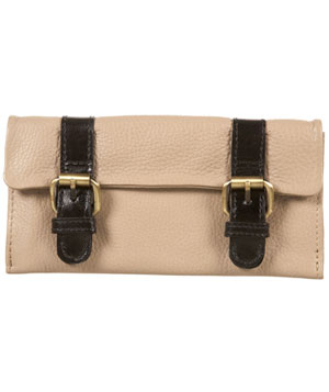 Brown Leather Contrast Buckle Purse