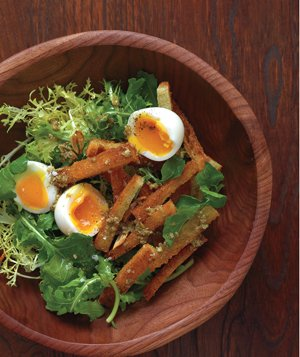 40 easy spring produce recipes real simple soft boiled eggs with warm croutons and greens forumfinder Choice Image
