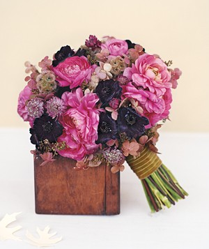 Bouquet of ranunculus, astrantia, and chocolate cosmos