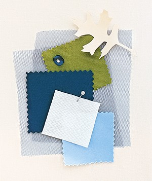 Green, navy, and baby blue fabric swatches