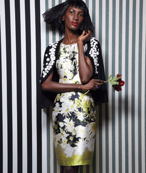 Model wearing Strenesse Gabriele Strehle floral silk dress