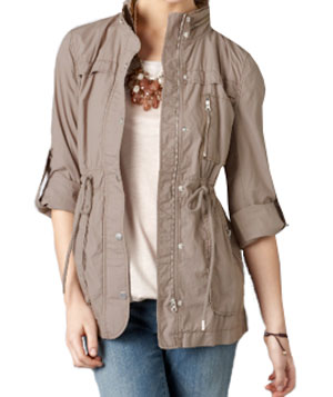 Cotton Poplin Cinched Trench by Loft
