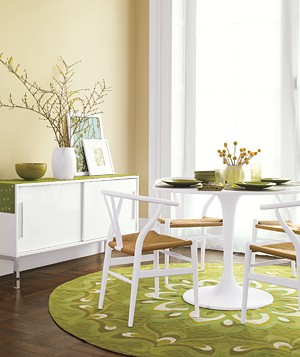Dining area with green accents