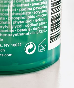 Recycle symbol on a bottle
