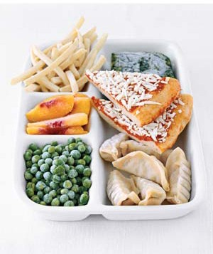 Frozen food in tray