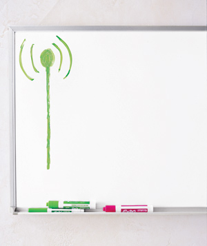 White board with green Wi-Fi signal