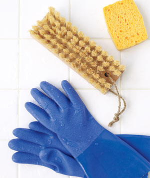 Rubber gloves with scrub brush and sponge