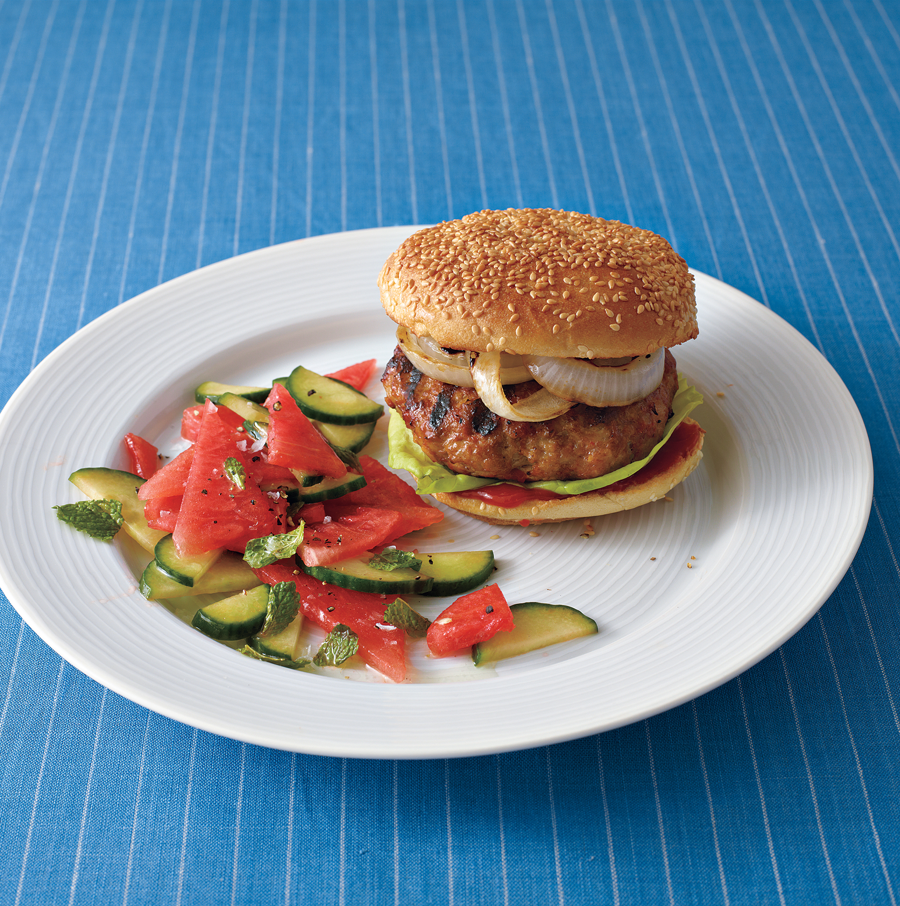 Asian Pork Burgers With Minted Watermelon