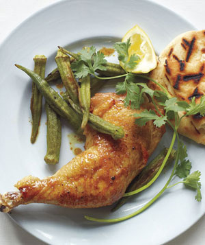 Curry-Roasted Chicken and Okra