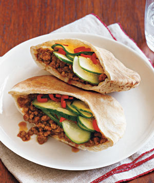 Gingery Pork and Cucumber Pitas