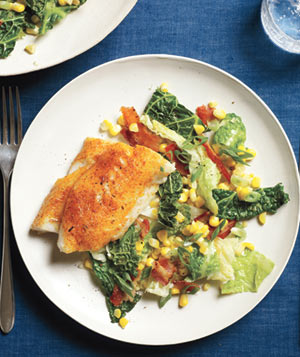 Cajun Fish With Cabbage and Bacon Sauté