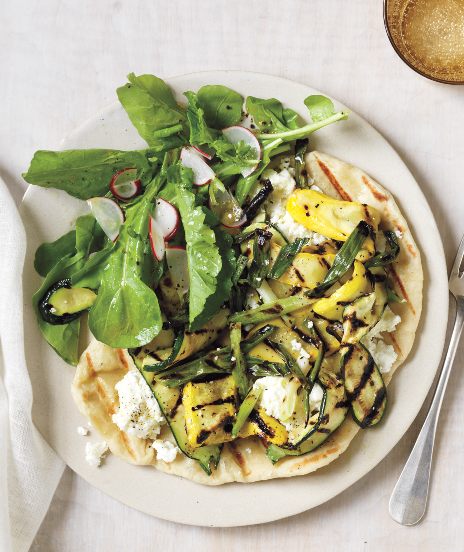 Grilled Pizzas With Ricotta, Summer Squash, and Scallions