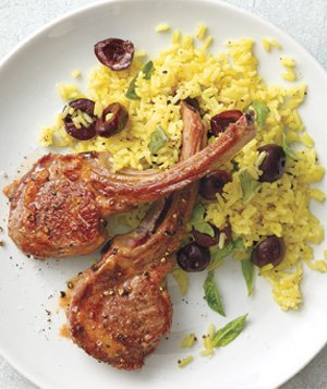 Lamb Chops With Curried Rice and Cherries