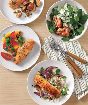 Four salmon dishes
