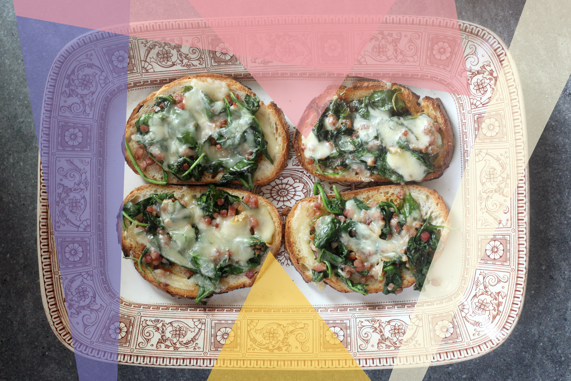 Spinach and Pancetta Tartines