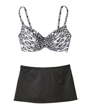 Anne Cole Collection black and white bikini top and skirted bottom