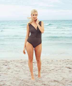 Model wearing gray one-piece
