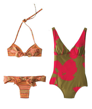 Gap plaid bow bikini and J. Crew floral one-piece swimwear