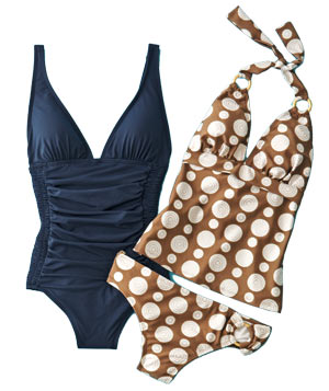 DKNY navy one-piece swimwear and Daisy Fuentes tankini