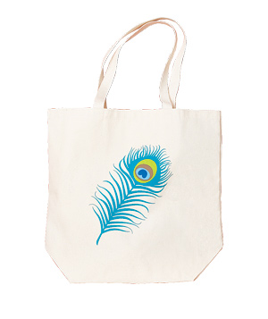 Dogeared peacock feather reusable canvas tote bag