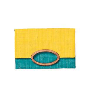 Mad Imports Marielle raffia-and-wood fold over yellow and teal clutch