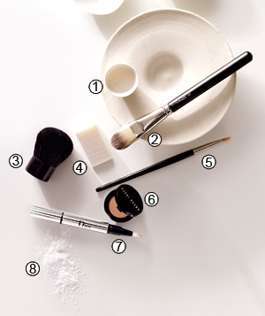 Makeup brushes, sponges and tools for flawless face