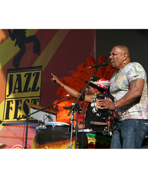 The Neville Brothers performing at the New Orleans Jazz & Heritage Festival
