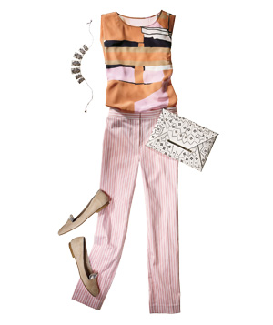 Pink and orange striped outfit with accessories