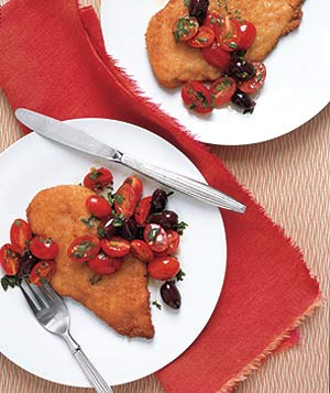 Chicken Breasts with Tomato Olive Salad