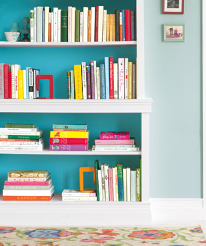 borrow a trick from interior designers inside a bookcase use paint thats a couple - Colored Bookshelves