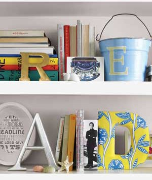 Shelves decorated with letters