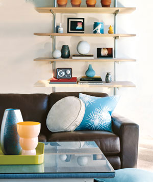 Open Shelves And Steel Hardware Give A Room Contemporary Flair.