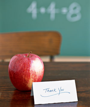Apple with thank you note