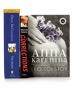 "Books ""Truman"" by David MCullough, ""The Corrections"" by Jonathan Franzen, and ""Anna Karenina"" by Leo Tolstoy"