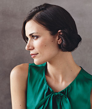 Side-swept chignon hairstyle