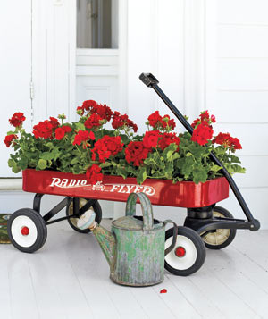 Radio Flyer red wagon with red geranium flower arrangement