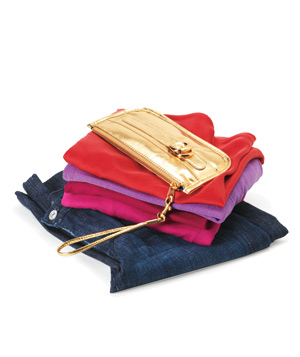 Denim jeans, t-shirts, gold purse