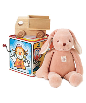 Wooden truck, jack in the box and pink stuffed animal