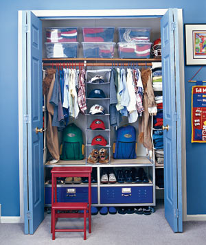 Organized little boy's closet