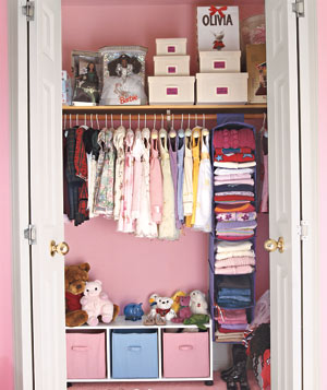 Organized little girl's closet