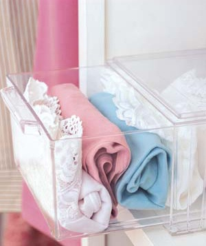 Store Accessories in Clear Plastic Drawers