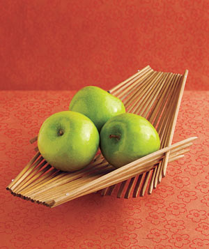 Chopstick bowl with green apples