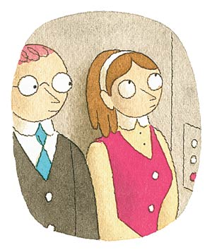 Illustration of a woman in an elevator with a man wearing a suit