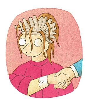 Illustration of a woman in a hair salon