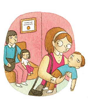 Illustration of a woman holding a sick child