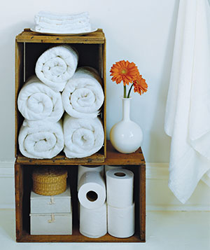Old wooden crates make smart holders for extra toilet paper and rolled bath towels.