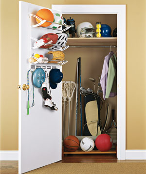 Sports equipment in a closet
