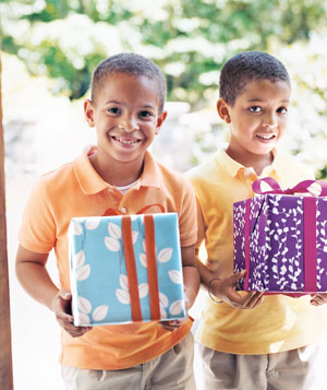 Boys carrying gifts
