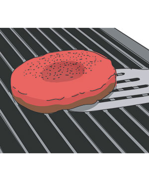 Illustration of flipping a burger